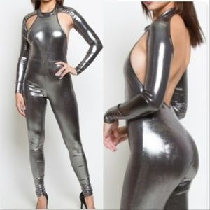 SASSY DOLLZ Silver Metallic Jumpsuit